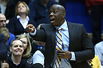 31 December 2014: Wofford assistant coach Tim Johnson. The Duke University Blue Devils hosted the Wofford College Terriers at Cameron Indoor Stadium in Durham, North Carolina in a 2014-16 NCAA Men's Basketball Division I game.