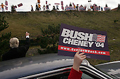 Wilks-Barre, Pennsylvania.USA.October 22, 2004..Pro-Kerry, anti-bush demonstrators outside the arena where President W Bush spoke to supporters. When the Bush supporters left the arena they squared off with the protesters.