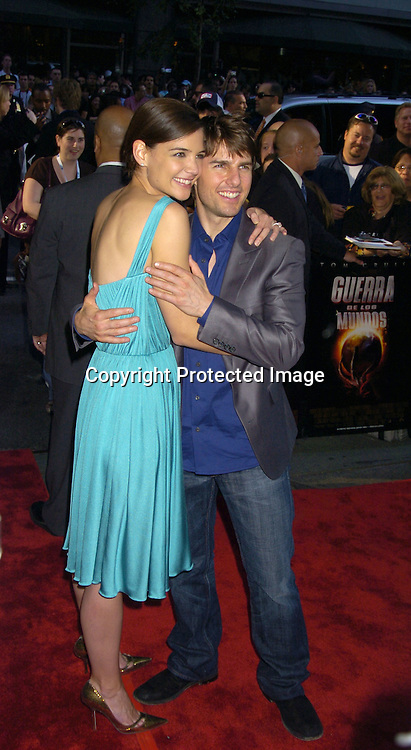 """Katie Holmes and Tom Cruise ..at The US Premiere of """"War of the Worlds"""" on June 23, 2005 at the Ziegfeld Theatre. ..Photo by Robin Platzer, Twin Images"""