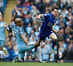 Vincent Kompany of Manchester City fouls Ben Chillwell of Leicester City during the English Premier League match at the Etihad Stadium, Manchester. Picture date: May 13th 2017. Pic credit should read: Simon Bellis/Sportimage