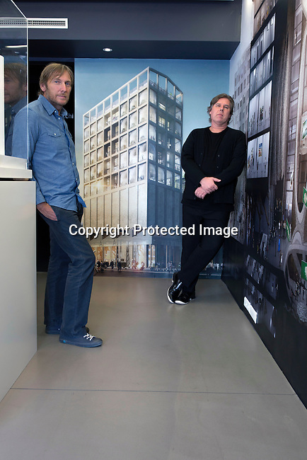 CAPE TOWN, SOUTH AFRICA - FEBRUARY 21: The German former CEO of PUMA Jochen Zeitz (l), a philanthropist and collector of African art, stands with the Executive Director of Zeitz MOCAA Mark Coetzee in their temporary office on February 21, 2017 at the V&A Waterfront, Cape Town, South Africa. The Zeitz Museum of Contemporary African Art (Zeitz MOCAA) museum will open in 2017 with about 6,000 square meters (65,000 square feet) will be dedicated to exhibition space, on nine floors. The English architect Thomas Heatherwick has designed the museum. (Photo by: Per-Anders Pettersson)
