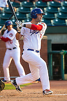 Mike Gonzales (50) of the Chattanooga Lookouts bats during a game between the Jackson Generals and Chattanooga Lookouts at AT&T Field on May 8, 2015 in Chattanooga, Tennessee. (Brace Hemmelgarn/Four Seam Images)