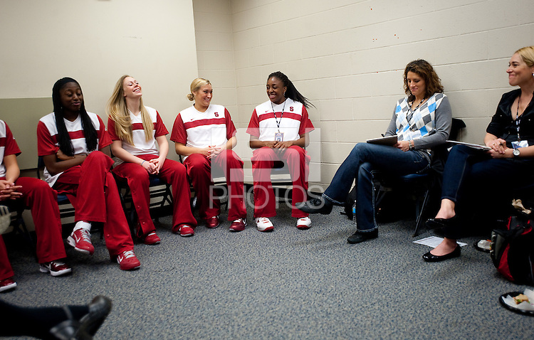 INDIANAPOLIS, IN - APRIL 1, 2011: The Stanford Cardinal conducts interviews with ESPN at Conseco Fieldhouse during the NCAA Final Four in Indianapolis, IN on April 1, 2011.