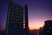 Trellick Tower, the award-winning residential block designed by Erno Goldfinger, in the London Borough of Kensington and Chelsea, London.