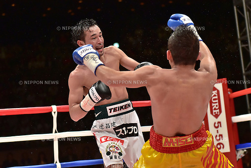 Shinsuke Yamanaka (JPN), Suriyan Sor Rungvisai (THA),<br /> OCTOBER 22, 2014 - Boxing :<br /> Shinsuke Yamanaka of Japan knocks down Suriyan Sor Rungvisai of Thailand for the second time during the eighth round of the WBC bantamweight title bout at Yoyogi 2nd Gymnasium in Tokyo, Japan. (Photo by Hiroaki Yamaguchi/AFLO)