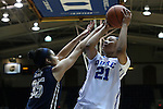 29 January 2015: Duke's Kendall Cooper (21) and Pitt's Stasha Carey (35). The Duke University Blue Devils hosted the University of Pittsburgh Panthers at Cameron Indoor Stadium in Durham, North Carolina in a 2014-15 NCAA Division I Women's Basketball game. Duke won the game 62-45.