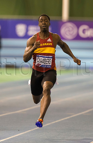 27.02.2016. EIS Sheffield, Sheffield, England. British Indoor Athletics Championships Day One. Drain Chambers (Belgrave Harriers) wins the Men's 60m Semi-Final (Heat 1).