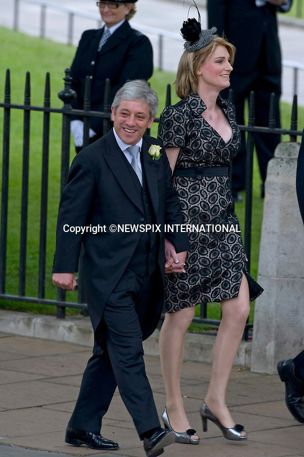 """JOHN AND SALLY BERCOW..WEDDING OF PRINCE WILLIAM AND CATHERINE MIDDLETON .Westminster Abbey,London_29/04/2011.Mandatory Photo Credit: ©Dias/Newspix International..**ALL FEES PAYABLE  TO: """"NEWSPIX INTERNATIONAL""""**..PHOTO CREDIT MANDATORY!!: NEWSPIX INTERNATIONAL(Failure to credit will incur a surcharge of 100% of reproduction fees)..IMMEDIATE CONFIRMATION OF USAGE REQUIRED:.Newspix International, 31 Chinnery Hill, Bishop's Stortford, ENGLAND CM23 3PS.Tel:+441279 324672  ; Fax: +441279656877.Mobile:  0777568 1153.e-mail: info@newspixinternational.co.uk"""