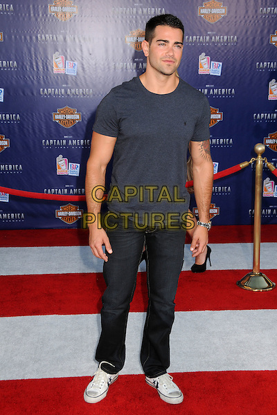 "Jesse Metcalfe.Premiere of ""Captain America: The First Avenger"" held at The El Capitan Theatre in Hollywood, California, USA..July 19th, 2011.full length t-shirt jeans denim grey gray.CAP/ADM/BP.©Byron Purvis/AdMedia/Capital Pictures."