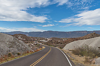 The ross maxwell road in Big Bend National Park. This area has these white mounds everywhere it is where the ash landed after the volcano erupted millions of year ago in this area.