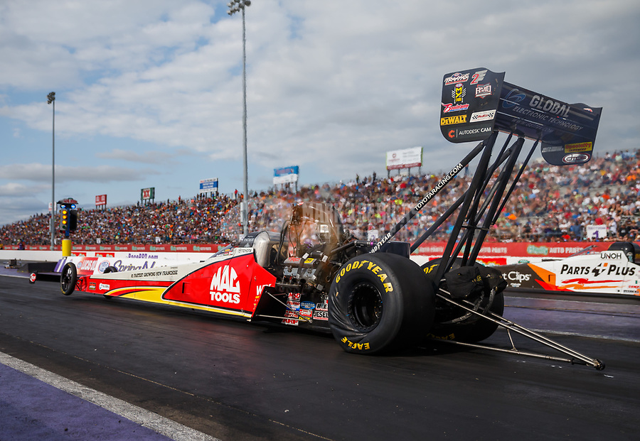 Apr 22, 2017; Baytown, TX, USA; NHRA top fuel driver Doug Kalitta during qualifying for the Springnationals at Royal Purple Raceway. Mandatory Credit: Mark J. Rebilas-USA TODAY Sports