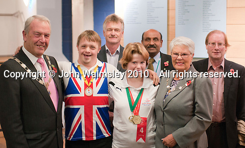 "Local dignitaries are met by the charity's officers and two of the athletes.  Special Olympics Surrey put on a show,   ""Beyond the Stars"", at the Rose Theatre, Kingston upon Thames to raise money for the  SOGB team.  The Special Olympics are for athletes with learning disabilities."