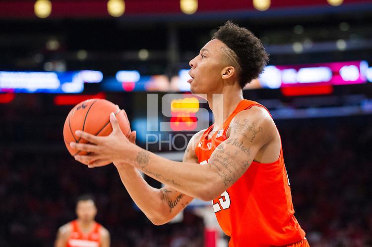 NEW YORK, NY - Sunday December 13, 2015: Malachi Richardson (#23) of Syracuse looks up before taking a shot.  St. John's defeats Syracuse 84-72 during the NCAA men's basketball regular season at Madison Square Garden in New York City.