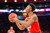 NEW YORK, NY - Sunday December 13, 2015: Malachi Richardson (#23) of Syracuse looks up before taking a shot.  St. John's defeats Syracuse 84-72 during the NCAA men's basketball regular season at Madison Square Garden in New York City.