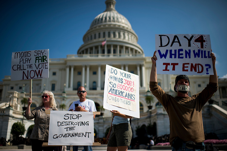 UNITED STATES - OCTOBER 4: Federal government workers hold a protest on the West Front of the U.S. Capitol to call for an end to the government shutdown on Friday, Oct. 4, 2013.  (Photo By Bill Clark/CQ Roll Call)