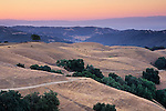 Dawn light over rolling hills near Sheep Ridge, Santa Clara County, California
