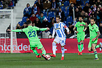 CD Leganes's Ruben Perez and Levante UD's David Remeseiro 'Jason' during La Liga match between CD Leganes and Levante UD at Butarque Stadium in Leganes, Spain. March 04, 2019. (ALTERPHOTOS/A. Perez Meca)