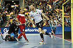 Leipzig, Germany, February 08: during the men bronze medal match between Germany (white) and Iran (red) on February 8, 2015 at the FIH Indoor Hockey World Cup at Arena Leipzig in Leipzig, Germany. Final score 13-2 (5-2). (Photo by Dirk Markgraf / www.265-images.com) *** Local caption ***