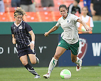Sonia Bompastor #8 of the Washington Freedom tracks Shannon Boxx #7 of St. Louis Athletica during a WPS match on May 1 2010, at RFK Stadium, in Washington D.C. Freedom won 3-1.