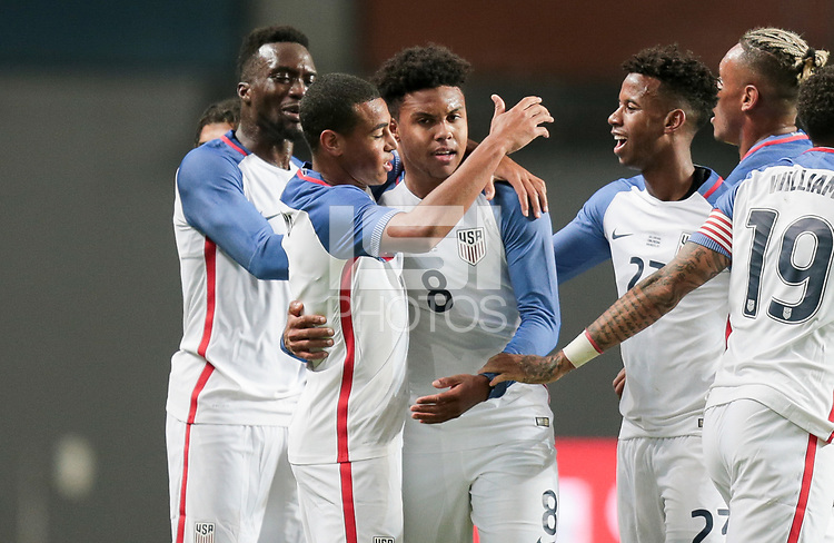 Leiria, Portugal - Tuesday November 14, 2017: Weston McKennie scores and celebrates during an International friendly match between the United States (USA) and Portugal (POR) at Estádio Dr. Magalhães Pessoa.