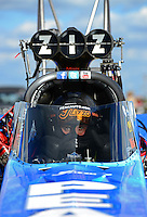 Sept 8, 2012; Clermont, IN, USA: NHRA top fuel dragster driver T.J. Zizzo during qualifying for the US Nationals at Lucas Oil Raceway. Mandatory Credit: Mark J. Rebilas-