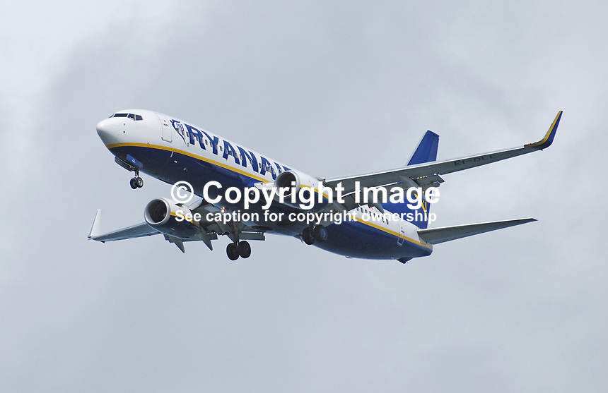 Ryanair aircraft, landing gear down, approaching George Best Airport, Belfast, N Ireland, UK. 200908163010.<br /> <br /> Copyright Image from Victor Patterson, 54 Dorchester Park, <br /> Belfast, UK, BT9 6RJ<br /> <br /> t1: +44 28 9066 1296 (from Rep of Ireland 048 9066 1296)<br /> t2: +44 28 9002 2446 (from Rep of Ireland 048 9002 2446)<br /> m: +44 7802 353836<br /> <br /> e1: victorpatterson@me.com<br /> e2: victorpatterson@gmail.com<br /> www.victorpatterson.com<br /> <br /> Please see my Terms and Conditions of Use at www.victorpatterson.com. It is IMPORTANT that you familiarise yourself with them.<br /> <br /> Images used on the Internet must be visibly watermarked i.e. &copy; Victor Patterson<br /> within the body of the image and copyright metadata must not be deleted. Images <br /> used on the Internet have a size restriction of 4kbs and will be chargeable at current<br />  NUJ rates unless agreed otherwise.<br /> <br /> This image is only available for the use of the download recipient i.e. television station, newspaper, magazine, book publisher, etc, and must not be passed on to any third <br /> party. It is also downloaded on condition that each and every usage is notified within 7 days to victorpatterson@me.com<br /> <br /> The right of Victor Patterson to be identified as the author is asserted in accordance with The Copyright Designs And Patents Act (1988).