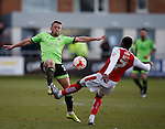 Florent Cuvelier of Sheffield Utd closes down Amari Bell of Fleetwood Town  - English League One - Fleetwood Town vs Sheffield Utd - Highbury Stadium - Fleetwood - England - 5rd March 2016 - Picture Simon Bellis/Sportimage