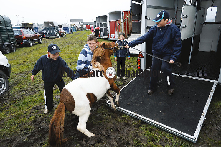 Aidan, David and Andrea O Brien help Niall Mc Grath loading a stubborn pony at the Clare County Show in Ennis. Photograph by John Kelly.