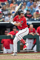 Texas Tech Red Raiders outfielder Kurt Wilson (8) at bat during Game 5 of the NCAA College World Series against the Arkansas Razorbacks on June 17, 2019 at TD Ameritrade Park in Omaha, Nebraska. Texas Tech defeated Arkansas 5-4. (Andrew Woolley/Four Seam Images)