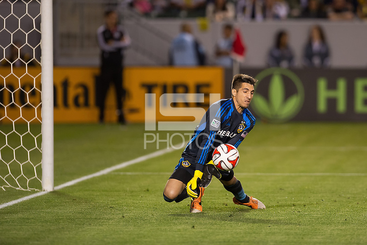 CARSON, CA - March 8, 2014: Los Angeles Galaxy goalkeeper Jaime Penedo (18) makes a save during the LA Galaxy vs Real Salt Lake match at the StubHub Center in Carson, California. Final score, LA Galaxy 0, Real Salt Lake  1.