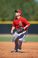 Los Angeles Angels of Anaheim first baseman Matt Thaiss (38) during an Instructional League game against the San Francisco Giants on October 13, 2016 at the Tempe Diablo Stadium Complex in Tempe, Arizona.  (Mike Janes/Four Seam Images)