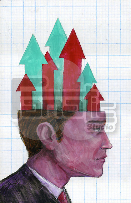 Illustrative image of arrows emerging from businessman's head representing growth