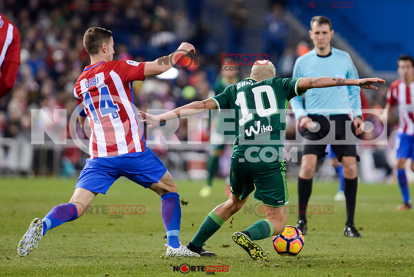"Atletico de Madrid's Gabriel ""Gabi"" Fernández and Real Betis's Dani Ceballos during La Liga match between Atletico de Madrid and Real Betis at Vicente Calderon Stadium in Madrid, Spain. January 14, 2017. (ALTERPHOTOS/BorjaB.Hojas) /NORTEPHOTO.COM"