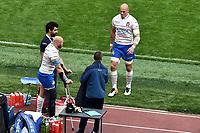 Sergio Parisse goes to hug his team mate Leonardo Ghiraldini Injured <br /> Roma 16-03-2019 Stadio Olimpico<br /> Rugby Six Nations tournament 2019  <br /> Italy - France <br /> Foto Andrea Staccioli / Insidefoto