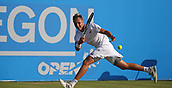 June 16th 2017, Nottingham, England; ATP Aegon Nottingham Open Tennis Tournament day 5;  Running forehand from Lloyd Glasspool of Great Britain on centre court in the quarter final against Dudi Sela of Israel
