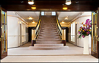 BNPS.co.uk (01202 558833)<br /> Pic: RYBritannia/BNPS<br /> <br /> Sir Hugh Casson's stylish Grand staircase.<br /> <br /> Sir Hugh Casson's original design sketches for the Royal Yacht have come to light - after his daughter Carola presented colour slides to the Trust in Leith, Edinburgh. <br /> <br /> The sketches of the yacht's state rooms, the vision of renowned architect Sir Hugh Casson, reveal the Queen's love of simple yet modern design.<br /> <br /> Britannia was launched in 1953, two months prior to the Queen's coronation, and clocked up more than one million miles up until 1997 when it was decomissioned.<br /> <br /> Sir Hugh was commissioned to put forward ideas after the Queen and the Duke of Edinburgh shunned original designs put forward by the yacht's builders.<br /> <br /> Far from the majesty of their Victorian palaces, the Royal couple wanted the yacht to be a contemporary 'home from home'.<br /> <br /> Britannia Trust head Bob Downey said 'It is a testament to Sir Hugh's skills that the Queen never updated his stylish original designs.'
