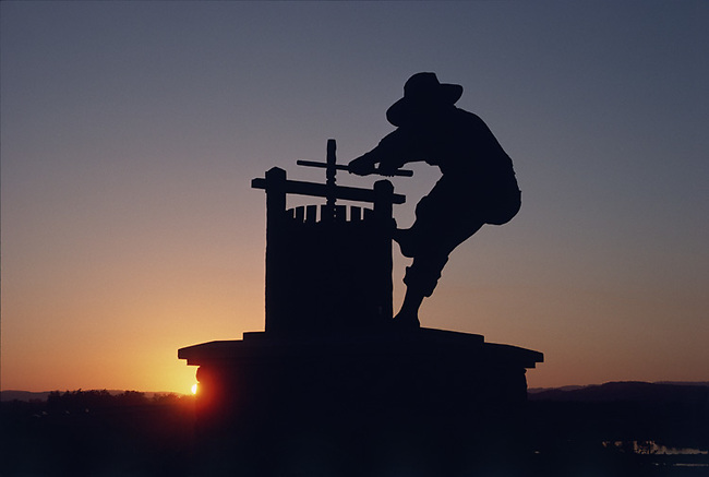 The Grapecrusher statue greets visitors entering Napa Valley