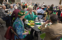 NWA Democrat-Gazette/CHARLIE KAIJO Lillian Webber of Bella Vista, Athelyn Buckley of Bella Vista, Michele Australie of Bella Vista and Kristy Danna of Bella Vista (from left) play cards during a charity card party, Friday, March 15, 2019 at the Bella Vista Community Church in Bella Vista. <br /><br />The Bella Vista Garden Club held a card party - groups of four purchased a table and brought card games to play. The Garden Club and volunteers provided food. Proceeds for the event went to scholarships for horticulture students. Last year they gave two $4,000 scholarships to veterans. Over 200 people attended the event. Merchants donated over $2,000 in raffle basket prizes. <br /><br />&quot;When I opened to take reservations over 75 percent of the tables were filled in a day,&quot; said Carol Tabat, garden club member.