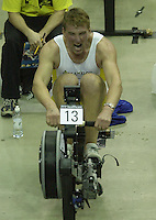 &copy; Peter Spurrier/Sports Photo +44 (0) 7973 819 551.PPP Healthcare British Indoor Rowing Championships.18th Nov. 2001.National Indoor Arena...MatthewPinsent, applies the power, as her starts to catch his Olympic and World Champion partner, James Cracknell at the World Indoor Rowing Championship at the national Indoor Arena - Birmingham... [Mandatory Credit: Peter SPURRIER/Intersport Images]<br />