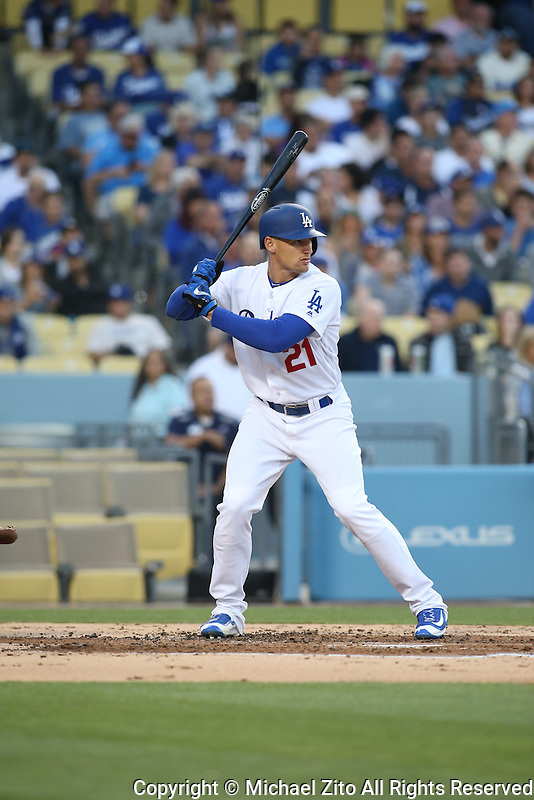 June 7, 2016, Los Angeles, CA: Los Angeles Dodgers left fielder Trayce Thompson #21 during a MLB game played at Dodger Stadium between the Colorado Rockies and Los Angeles Dodgers