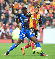 20170415 - LENS , FRANCE : Lens' Kenny Lala (R) and Auxerre's Birama Toure (R) pictured during the soccer match between Racing Club de LENS and AJ Auxerre , on the thirty third matchday in the French Dominos pizza Ligue 2 at the Stade Bollaert Delelis stadium , Lens . Saturday 15 April 2017 . PHOTO DIRK VUYLSTEKE | SPORTPIX.BE