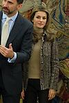 Prince Felipe and Princess Letizia attend different hearings at La Zarzuela Palace in Madrid, January 27th, 2011..Photo: Miguel Cordoba / ALFAQUI