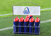 20191022 – OOSTENDE , BELGIUM : illustration picture shows the uefa drinking bottles before a soccer game between Club Brugge KV and Paris Saint-Germain ( PSG )  on the third matchday of the UEFA Youth League – Champions League season 2019-2020 , thuesday  22 th October 2019 at the Versluys Arena in Oostende  , Belgium  .  PHOTO SPORTPIX.BE | DAVID CATRY