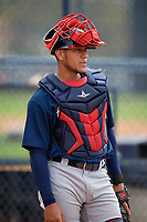 Atlanta Braves Rusber Estrada (19) during practice before a Minor League Spring Training game against the New York Yankees on March 12, 2019 at New York Yankees Minor League Complex in Tampa, Florida.  (Mike Janes/Four Seam Images)