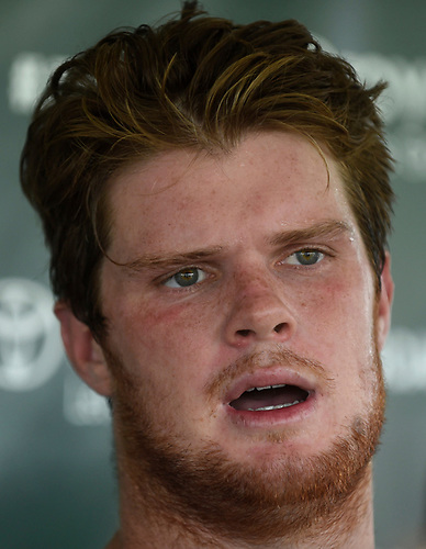 Sam Darnold #14, New York Jets rookie quarterback, speaks with the media after a day of Training Camp at the Atlantic Health Jets Training Center in Florham Park, NJ on Saturday, Aug. 18, 2018.