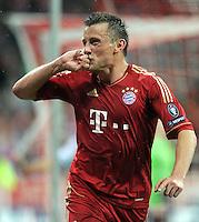 FUSSBALL   CHAMPIONS LEAGUE  VIERTELFINAL RUECKSPIEL   2011/2012      FC Bayern Muenchen - Olympic Marseille          03.04.2012 JUBEL nach dem Tor zum 2:0 Ivica Olic (FC Bayern Muenchen)