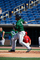 Daytona Tortugas left fielder Daniel Sweet (6) follows through on a swing during the first game of a doubleheader against the Clearwater Threshers on July 25, 2017 at Spectrum Field in Clearwater, Florida.  Daytona defeated Clearwater 4-1.  (Mike Janes/Four Seam Images)