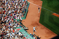 BOSTON, MASS. - SEPT. 28, 2014: Derek Jeter waves to the stadium after he batted a run in and left the game at his last at bat as New York Yankees and Boston Red Sox play at Fenway Park. The game is last game of Derek Jeter's career. M. Scott Brauer for The New York Times