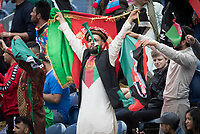 Afghanistan fans celebrate the rapid fall of wickets during Afghanistan vs Sri Lanka, ICC World Cup Cricket at Sophia Gardens Cardiff on 4th June 2019