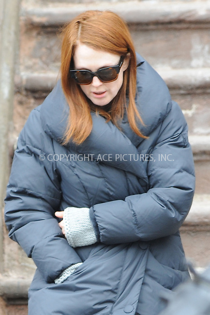 WWW.ACEPIXS.COM <br /> March 7, 2014 New York City<br /> <br /> Julianne Moore on the movie set 'Still Allice' on March 7, 2014 in New York City.<br /> <br /> Please byline: Kristin Callahan  <br /> <br /> ACEPIXS.COM<br /> Ace Pictures, Inc<br /> tel: (212) 243 8787 or (646) 769 0430<br /> e-mail: info@acepixs.com<br /> web: http://www.acepixs.com